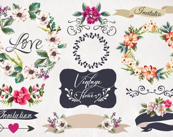 Hand-drawn flower collection/Vector/Illustrator /wedding set//Clip art collection/Individual PNG files