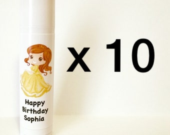 Princess Lip Balm Birthday Party Favors 10 Pack (can be personalized!)