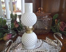 Hurricane Hobnail Milk Glass Oil Lamp