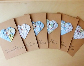 Thank you recycle cards, thank you moving travel cards, Map card, upcycle card, road trip cards, set of cards, forty ravens - set of 6/12
