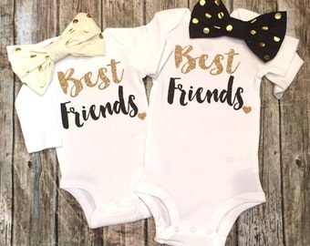 Baby Girl Clothes, Best Friends Shirts, Best Friends Bodysuits, Baby Girl Twin Shirts, Best Friends Shirts, Best Friend Shirts, Twin Shirts