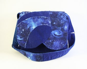 Blue messenger bag for kids - Blue crossbody bag - Bohemian star blue bag