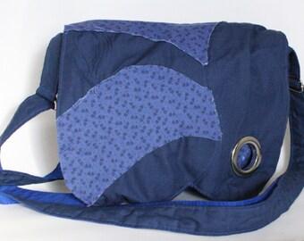 Blue messenger bag Adjustable shoulder bag Bohemian bag, Blue crossbody bag