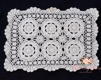 Ecru Vintage Crocheted  Doily. Newborn layer, VINTAGE DOILY.