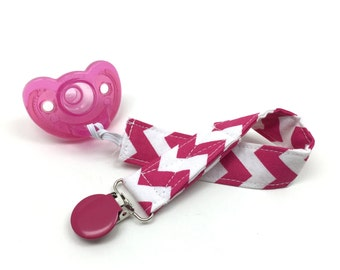 Pink Pacifier Clip - Pink Chevron Soother Strap for baby - Soother Clip in Pink - Pink Pacifier Chevron Clip - Little Sprouts - Baby Girl