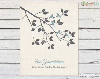 GRANDCHILDREN PRINT, Gift for Grandparents, Grandchildren Wall Art, Grandchildren Family Tree, Grandkids Family Tree, Family Tree Print