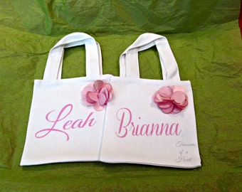 Pink and White Toddler Tote Bag, Personalized Tote Bag, Pink and White Flower Tote Bag, Little Tote Bag, Pink Tote, White Tote,