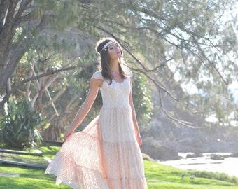 Utopia Gypsy Bride Tier Dress, Bohemian princess Beach Wedding Dress