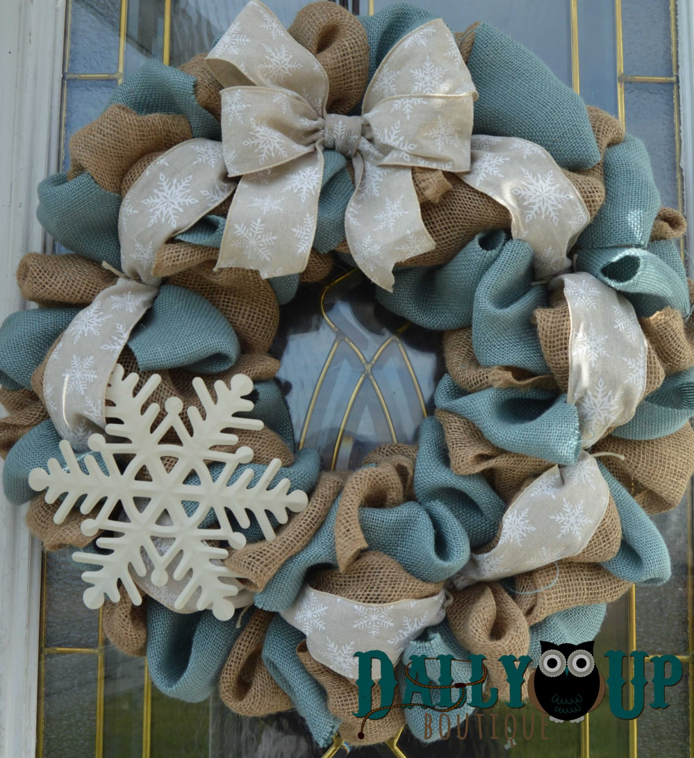 Christmas Wreath Winter Wreath Natural And Blue With White