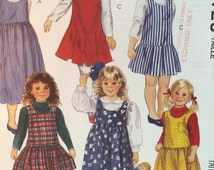 Vintage 1992 McCall's Easy 6125 Girl's and Chidren's Jumper Sewing Pattern