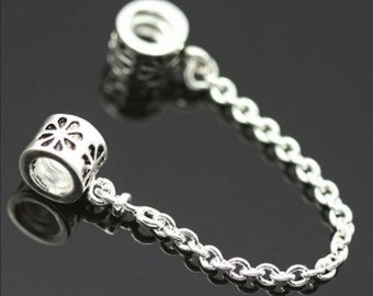 Silver Plated Flower Safety Chain for European Style Bracelets