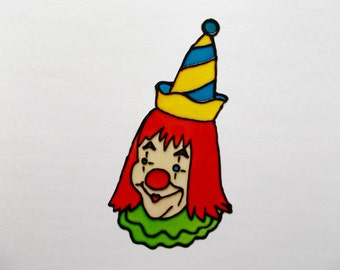 FREE SHIPPING - Clown Window Decor - Stained Glass Style Window Cling - Glass Painted  Glueless Window Sticker - Suncatcher -Baby Room Decor