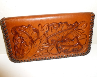 Vintage Leather Wallet Checkbook With Leaf And Acorn Motif