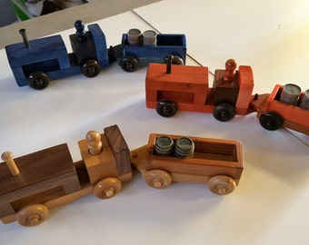Farm Tractor & Trailer Handmade Wooden Toys
