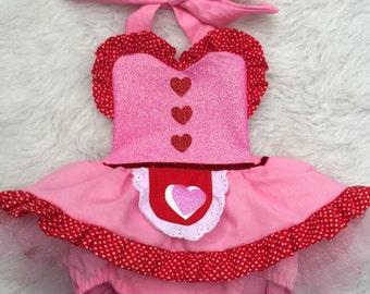 Valentine's day baking baby romper