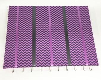 Purple and Gray Chevron Hair Bow Holder Hair Bow Organizer