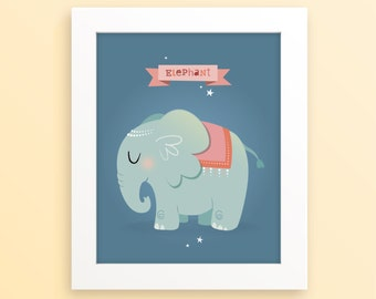 Elephant kids print, cute elephant room decor, animal decor, modern illustration, kids art, kids room decor, children's art, new baby gift