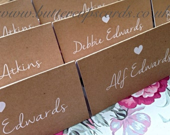 Rustic Wedding Table Place Cards Recycled Kraft Card Vintage Shabby Chic Name Places