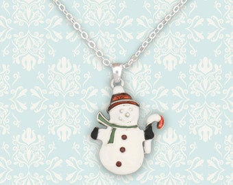 Snowman in Red Cap Necklace - 48028