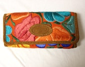 Guatemala | Handmade Embroidered Wallet – Orange and Teal