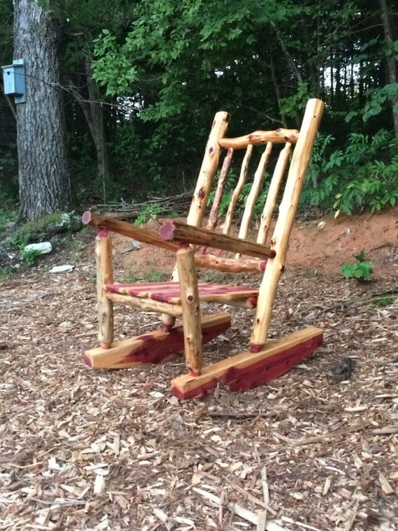 Rustic Cedar Log Rocking Chair Front Porch Rustic Rocker