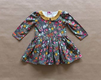 Baby toddler girls mustard floral tiger dress