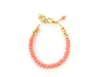 Baby Bracelet, Personalized Baby Bracelet, Baby Gifts, Little Girl Bracelet, Personalized Girl Gift, New Baby Gift, Orange Coral