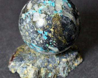 Unstabilized TURQUOISE sphere 35 mm with stand natural ball #6015 - KAZAKHSTAN
