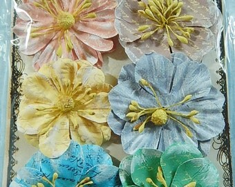 Prima Flowers Handmade Embellishments 6 Flowers Labelle Island Mix Peach Yellow Blues Green Beige Paper Crafts