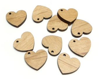 Wooden Heart Charms, Blank Wood Heart Tags