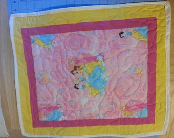 doll blanket Handmade princess doll quilt for 18 inch dolls like American Girl size dolls  pink yellow doll blanket