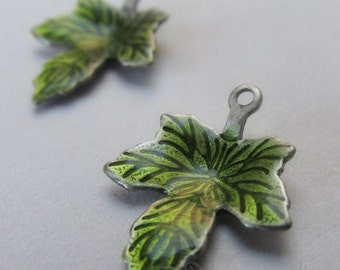 Green Leaf Charms - 5/10/20 Wholesale Enamel Antiqued Silver Plated Pendant Findings C6374