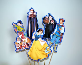 SNOW WHITE Centerpiece Picks Set of 5 (DOUBLE-sided)/Cake Toppers / Birthday Party / Decorations / Supplies / Decor