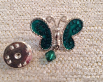 Vintage Silver Tone and Emeral Green Butterfly Pin/Tac