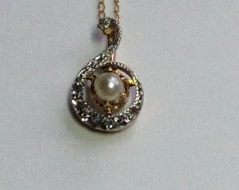Art Deco French Pearl Diamond 14KY&WG Pendant