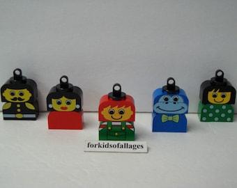 5 Custom Lego Figure Christmas Ornaments Blue Gorilla+ (Stocking Stuffers/Gifts) Lot #3