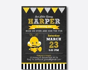 Baby Bee Chalkboard Birthday Invitation, Bee Birthday Invitation, Bee First Birthday, Bee Party, Cute Bee, Honeycomb, Personalized (CKB.307