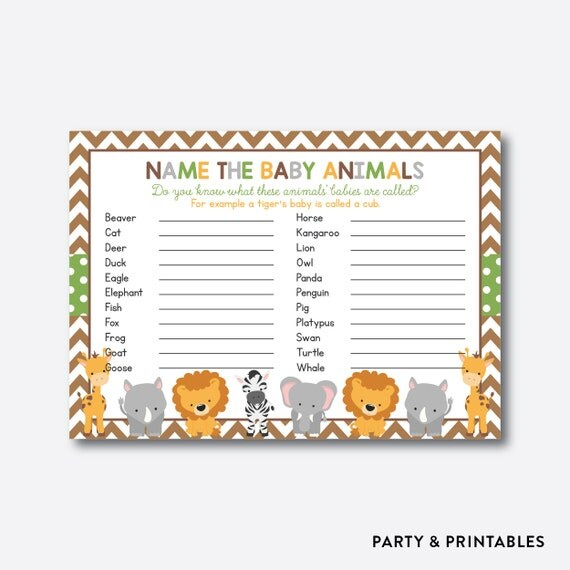 Baby Shower Game Name The Baby Animal: Instant Download, Safari Baby Animals Name Game, Safari