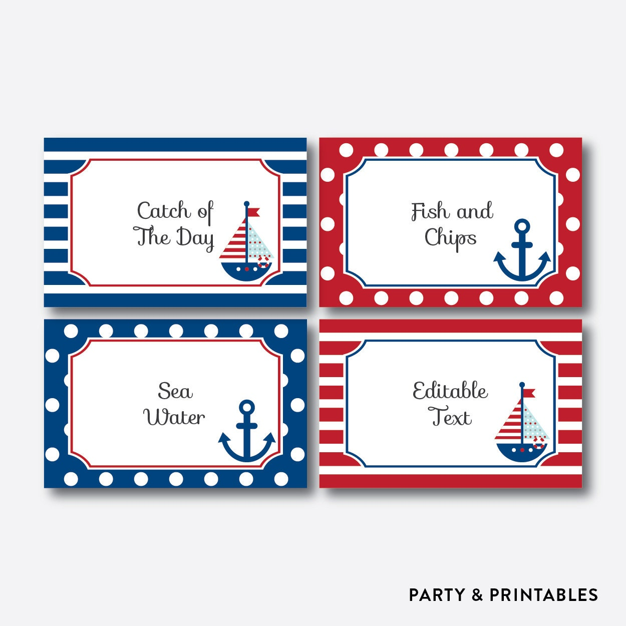 Instant Download Editable Nautical Food Labels Food Tags