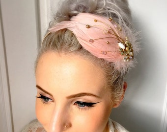 Blush Pink Vintage Feather Fascinator Headpiece