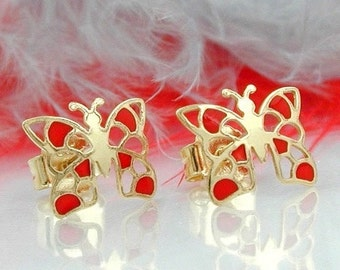Intricate Butterflies Studs red, 9K Gold