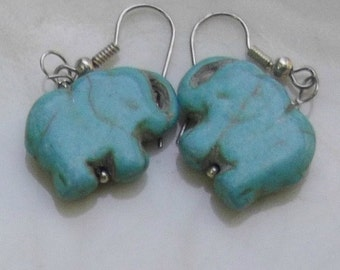 Turquoise Earrings, Turquoise Elephant Earrings, Drop Earrings, Gemstone Earrings, Animal Earring, Dangle Earring, Howlite Earring, Carved