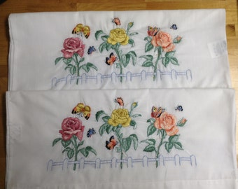 Rose and butterfly pillowcases set of 2