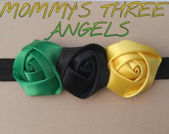 Jamaica Flag Inspired Headband/ Green Black and Yellow Rosette Elastic Headband MADE TO ORDER