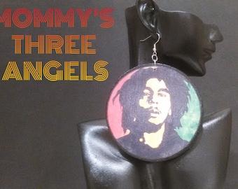 Reggae Star/ Rasta Image Decoupage Inspired Earrings MADE TO ORDER