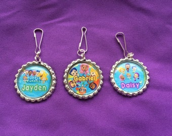 12 Personalized Bubble Guppies Zipper Pulls, Party Favors