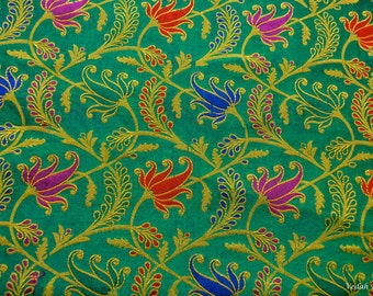 Única verde y oro Chanderi seda del telar jacquar de la tela vendida por la yarda