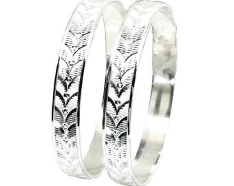 "Karizmatic 925 Sterling Silver Bangles Bracelet (Kangan) - Pair 2.6"""