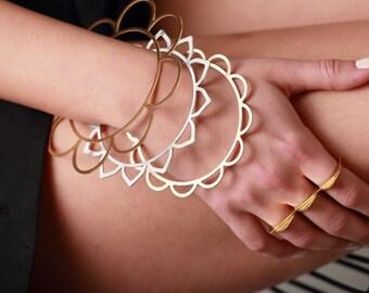 Flower pattern Bangle Set. Stacking Bracelets. Thin Floral Bracelet. Modular Chic Bracelet. Oversized Bracelet. Stacking Bangles.