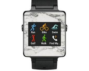 Skin Decal Wrap for Garmin Vivoactive Forerunner Watch cover sticker White Marble